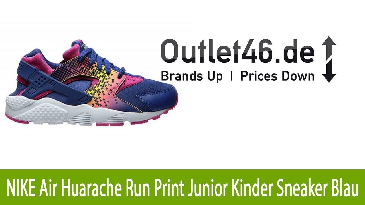 cheap for discount 82224 98b64 JETZT ZUSCHLAGEN NIKE Air Huarache Run Print Junior Kinder Sneaker Blau l  Outlet46.de