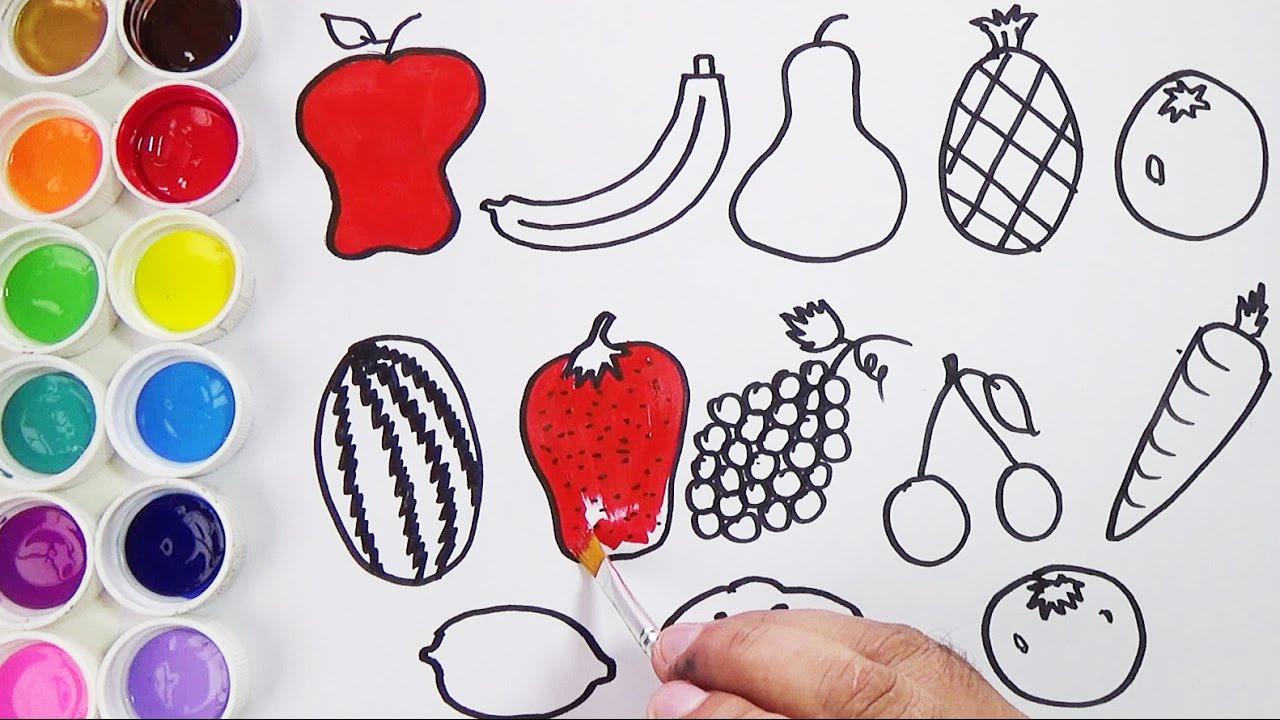 Como Dibujar Y Colorear Frutas Y Vegetales Videos Para Ninos