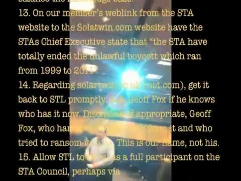 Solar chaos chuckout video. Solar heating market rigging is mainstream! STA AGM 28 Oct 2011
