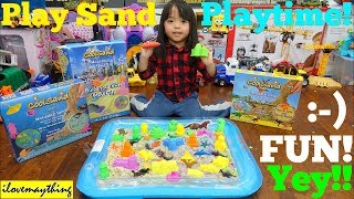 Family Toy Channel: Kids Playing with Sand! Dinosaur Play Sand and More! Kinetic Sand Playtime!