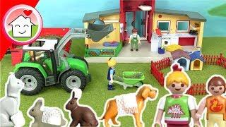 Playmobil Tierklinik Traktor Tiere - Familie Hauser Spielzeug Video für Kinder