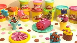 Play Doh Ice Cream Christmas Birthday Party Muffins Cake Lollipops Yule Log Confections Playdough