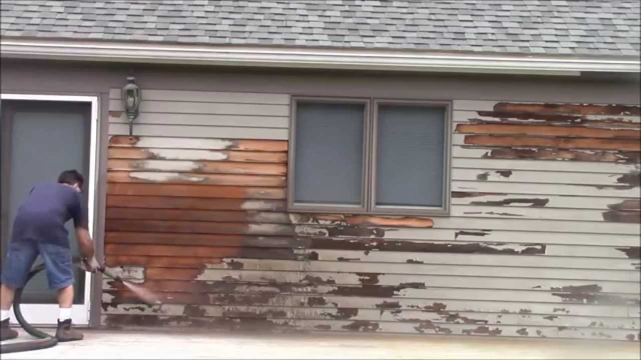 removing paint red cedar siding with the 39 dustless blaster 39 youtube. Black Bedroom Furniture Sets. Home Design Ideas