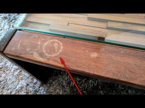 Как удалить белое пятно на лакированном деревянном столе