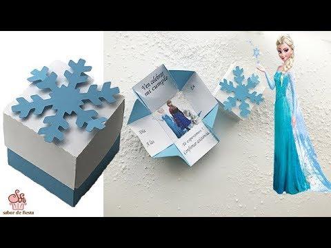 Invitación De Frozen En Caja Sabor De Fiesta