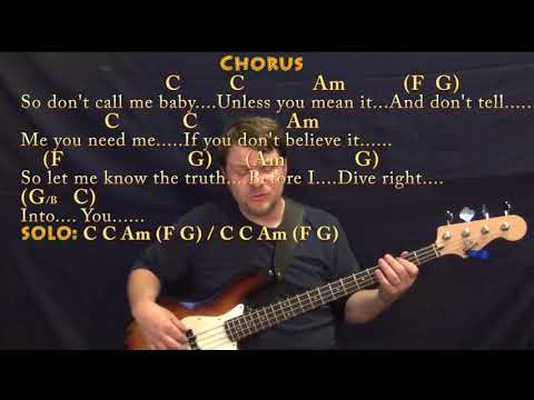 Dive (Ed Sheeran) Bass Guitar Cover Lesson in C with Chords/Lyrics