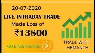 Made Loss of Rs.13800 on 20 July 2020 Live Trading - Trade With Hemanth