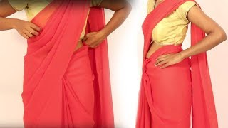 How To Wear A Pink Saree with Golden Blouse