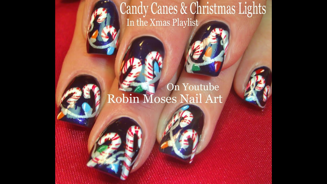 Christmas Nail Art Tutorial Gingerbread Galore: Christmas Candy Canes Nails! + Xmas Lights Nail Art Design