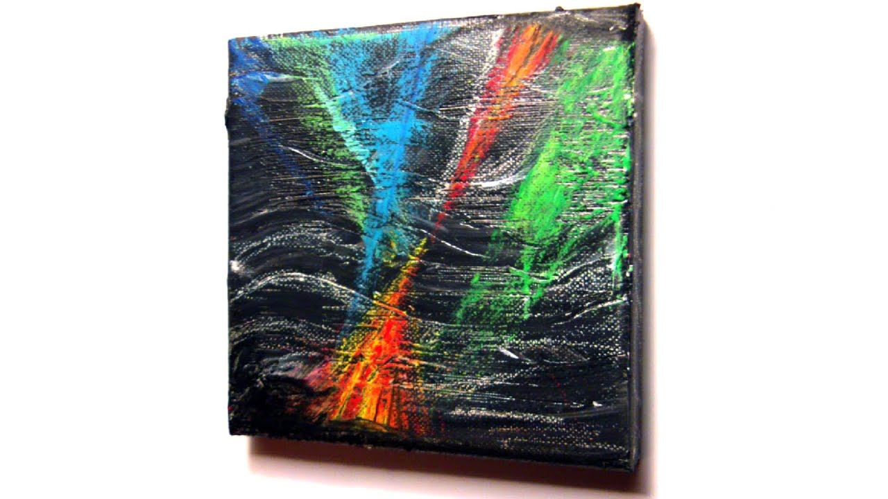 Abstrakt malen mit Acryl und Ölkreide (Abstract painting with ...