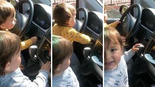 Cheeky Toddler Twins Start Car Engine