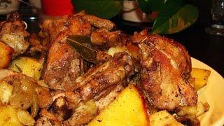 Картофель по-деревенски с курицей и грибами
