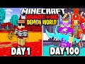 I Survived 100 Days in a DEMON Only World on Hardcore Minecraft.. Here's What Happened..
