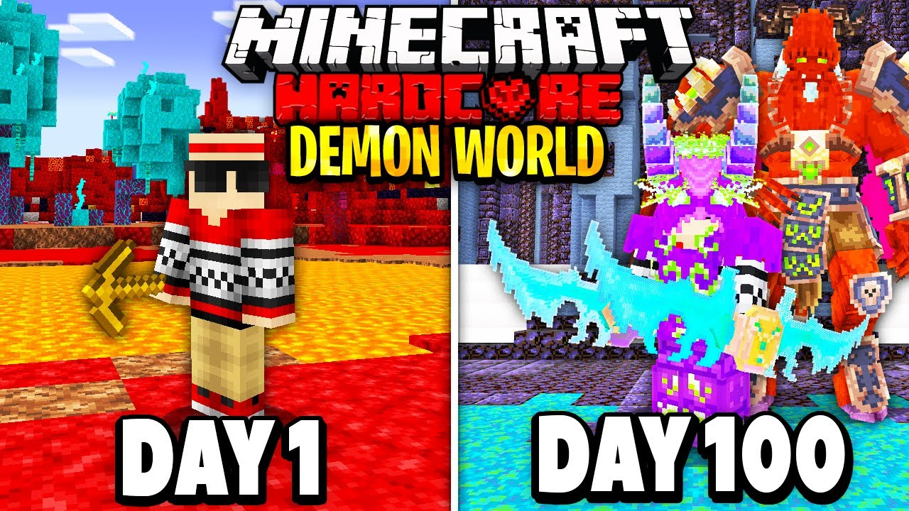 Download I Survived 100 Days in a DEMON Only World on Hardcore Minecraft.. Here's What Happened..