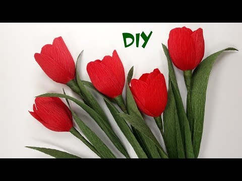 How to make crepe paper flowers | DIY paper Tulips | Craft tutorials