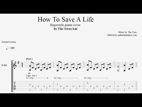 How To Save A Life TAB - Fingerstyle Guitar Tab - PDF - Guitar Pro