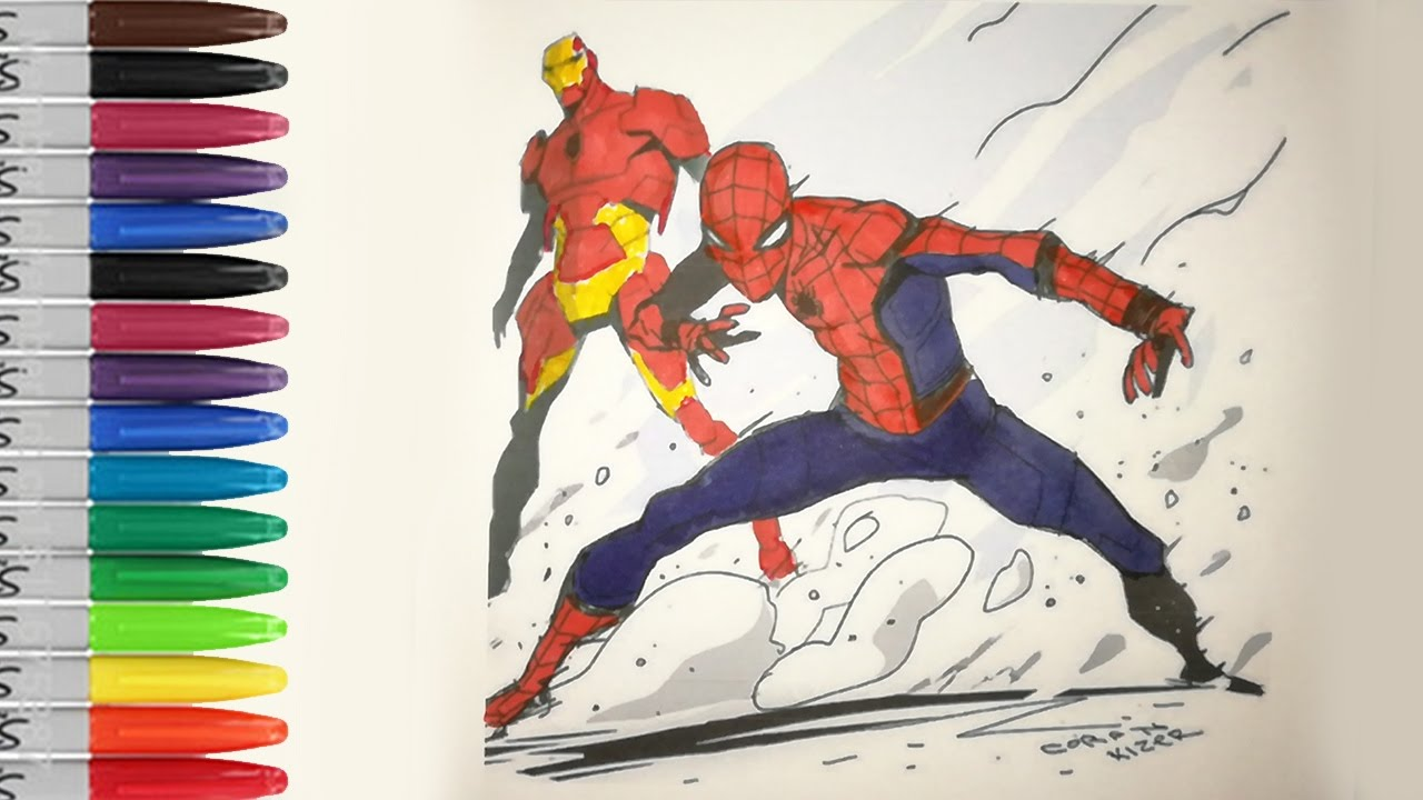 The SPIDERMAN HOMECOMING With IRONMAN Coloring Pages SAILANY Kids