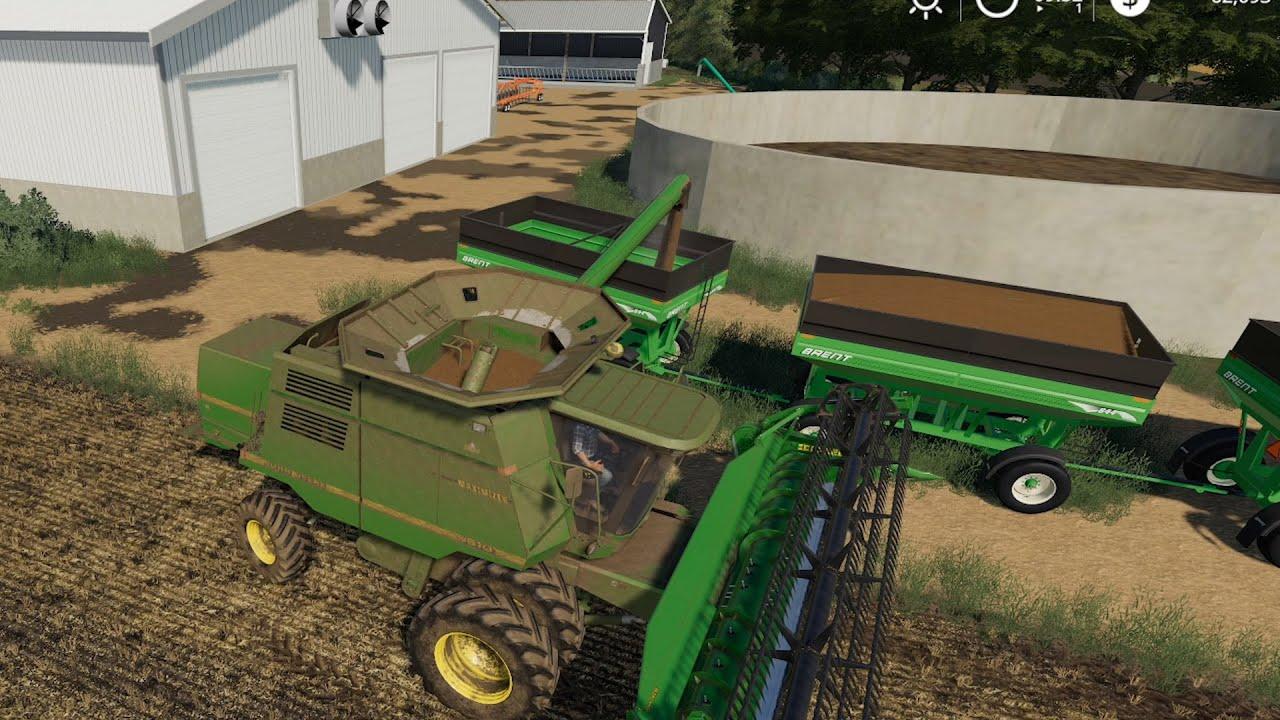 Farmersburg Ep#10 | Harvest, Grain Hauling | FS19 Timelapse | Farming Simulator 19 Timelapse