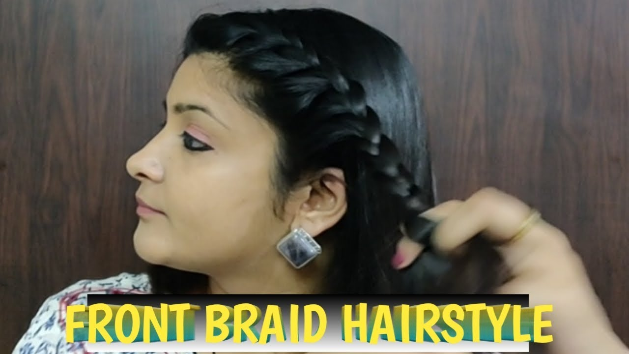 front braid hairstyle for school, college and work | indian hairstyle