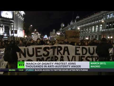 Mortgage or Food: Thousands march to Madrid in anti-austerity protest