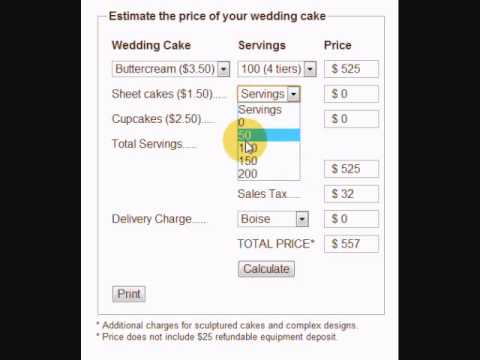 wedding cake cost calculator wedding cake price calculator 22253