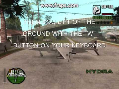 how to fly the hydra on laptop and pc version(GTA SA-MP,SA)