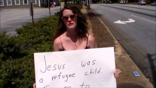 WACKO LIBERAL counter protester calls for Amnesty and full Govt. benefits for illegal aliens!