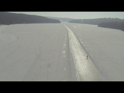 Ice-skating paradise on frozen lake in Czech Republic