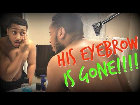 I  SHAVED HIS EYEBROW!!! (1/3 SUCCESSFUL PRANK)