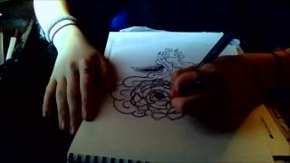 Peony Speed Drawing (Pointillism)