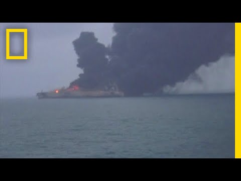 Watch: Oil Tanker on Fire After Collision in East China Sea | National Geographic
