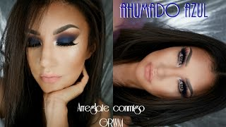 Ahumado en AZUL tutorial /SMOKEY EYE in BLUE NAVY (ENGLISH SUBTITLES) @auroramakeup