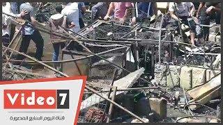 أثار الحريق الهائل بمنطقة سوق الملابس فى إمبابة