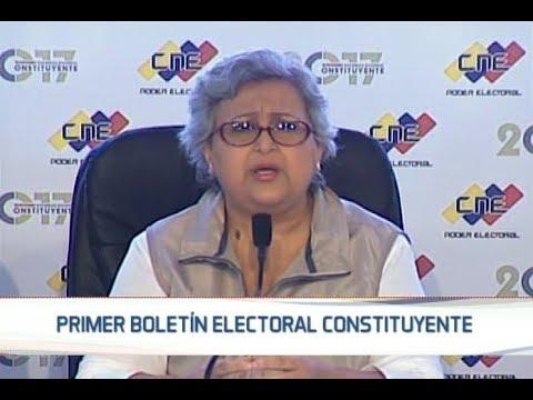 Tibisay Lucena lee primer boletín del CNE con resultados de la Asamblea Constituyente