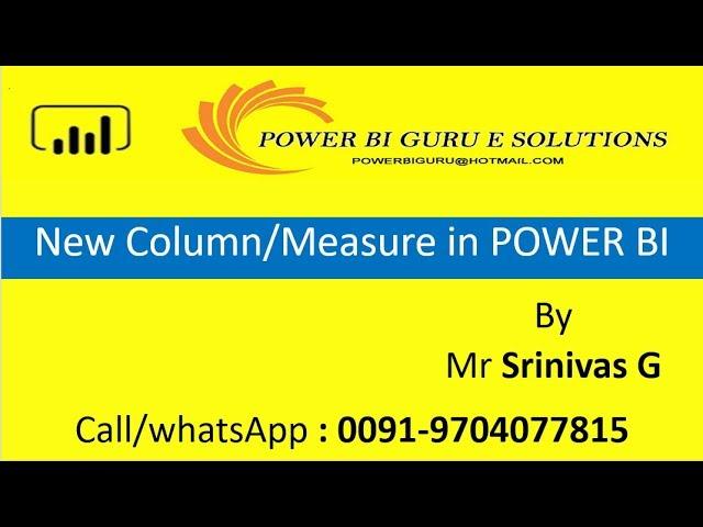New Column,Measure in Power BI | Power BI Training | PowerBI Guru