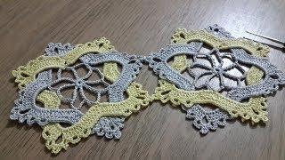 Tığişi örgü renkli dantel motifi yapımı, crochet