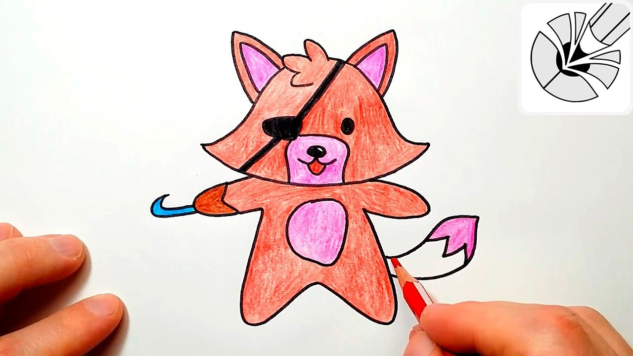 kawaii fnaf how to draw a cute foxy drawing and coloring for