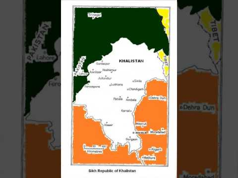 Map of Sikh Republic of Khalistan - खलिस्तान