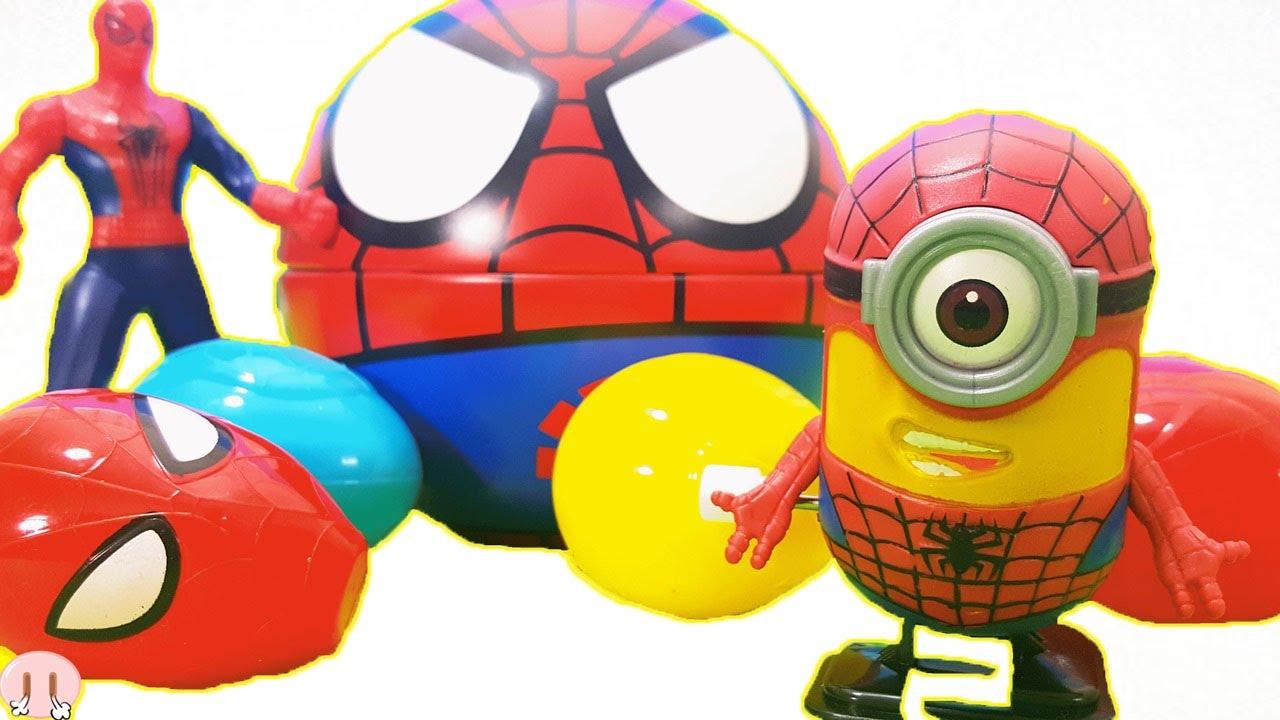spiderman surprise egg ドラえもん おもちゃねんど遊びドラえもんの顔を