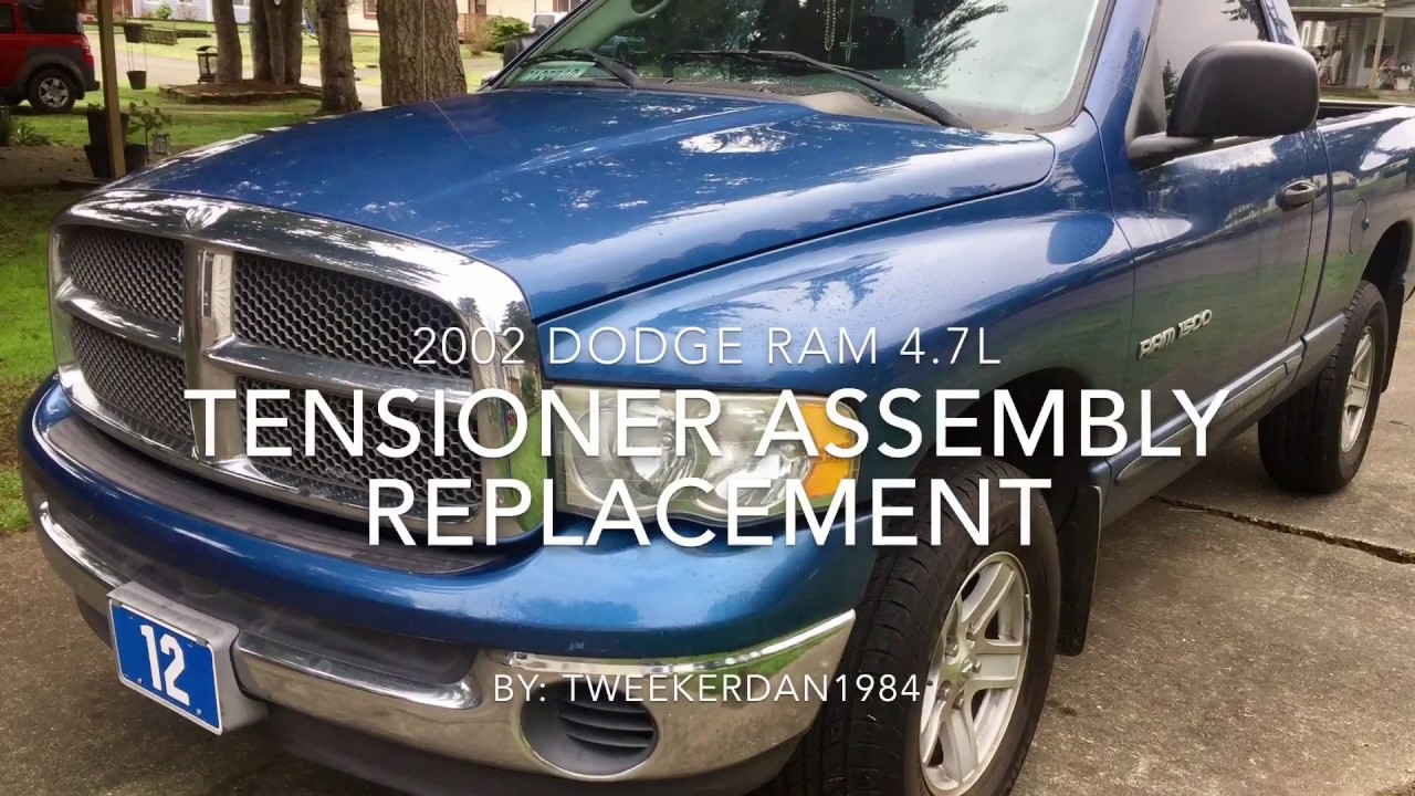 how to replace automatic tensioner idler pulley and belt on 2002 dodge ram [ 1280 x 720 Pixel ]