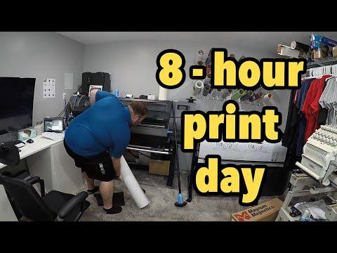 HP Latex banner setup, more yards signs, and shirts - vlog 250 - Print Shop Updates