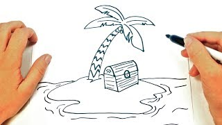How to draw a Desert Island Step by Step | Easy drawings