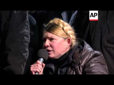 Yulia Tymoshenko, freed from custody, speaks at protest camp