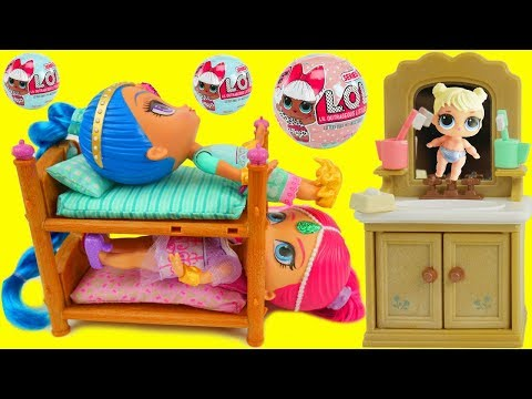 LOL Surprise Doll Shimmer and Shine Morning Routine Bedtime Toilet in Bathroom The Emoji Movie Toys!