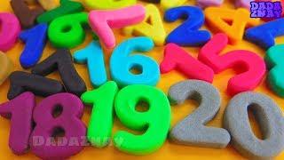 Учим цифры от 1 до 20 с Play Doh | Учим цвета с Play Doh |  Цифры 1-20 | Цифры из пластилина