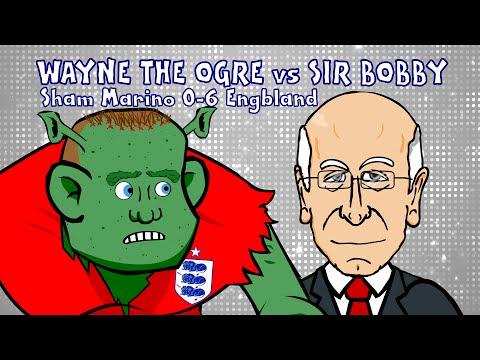 Wayne Rooney vs Sir Bobby Charlton (San Marino vs England 0-6 goal equals record)
