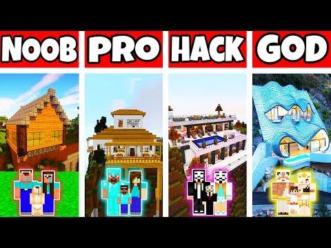 Minecraft: FAMILY MODERN MOUNTAIN HOUSE BUILD CHALLENGE - NOOB Vs PRO Vs HACKER Vs GOD In Minecraft