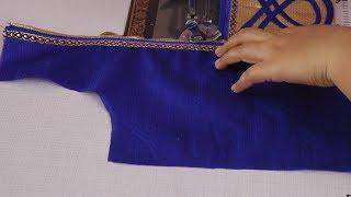Stylish blouse back neck design cutting and stitching
