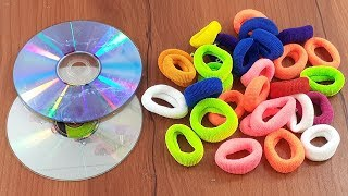Waste cd disc & Hair rubber bands reuse idea | best out of waste | Home decorating