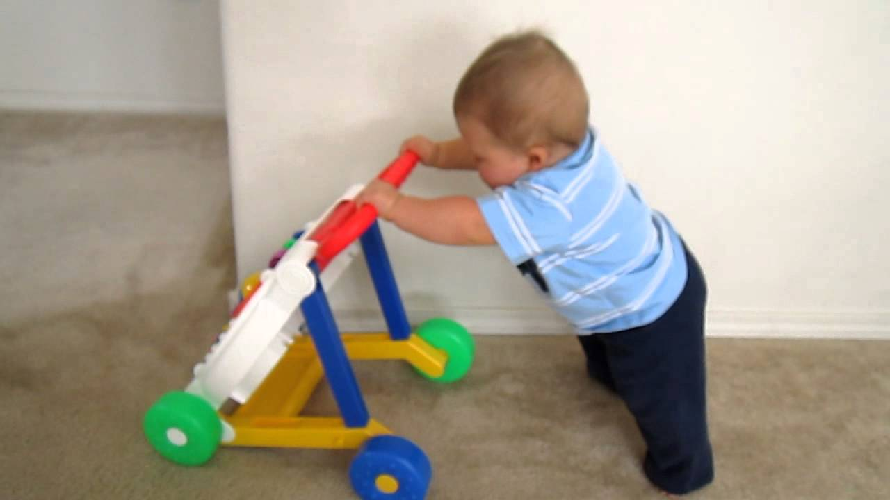 8 Month Old Walking With Push Toy Youtube